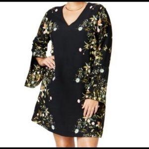 Rachel Roy Bell Sleeve Floral Black Dress 22W Plus